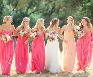 wedding dress, bride, and flowers image