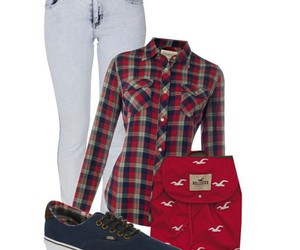 backpack, vans, and flannel image