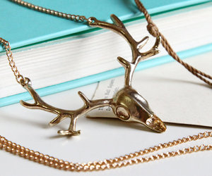 deer head, jewelry, and necklace image