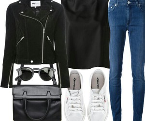 jacket, outfit, and leather image