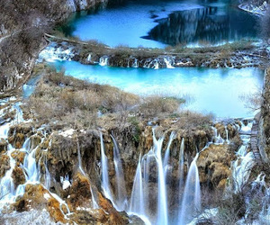 blue, falls, and water image