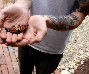 tattoo, butterfly, and boy image