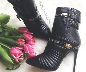 black shoes, booties, and classy image