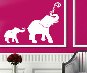 living room decor, wall decals, and elephant family image
