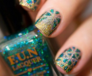 glitter, gold, and green image