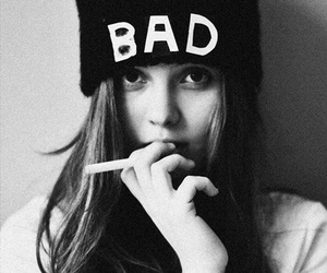 girl, bad, and black and white image