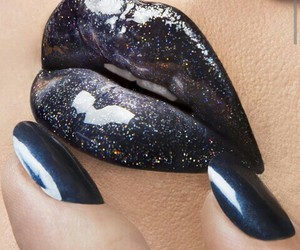 lips, black, and galaxy image