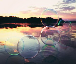 bubbles, lake, and sunset image