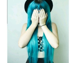 blue hair and grunge image