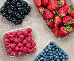 berries, healthy, and strawberry image