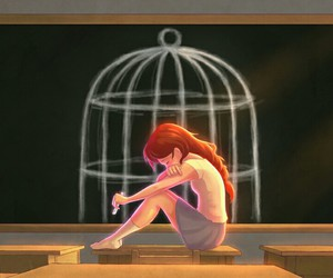 cage, sad, and school image