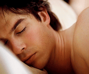 Hot, damon salvatore, and sleeping image