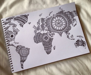 black and white, draw, and earth image