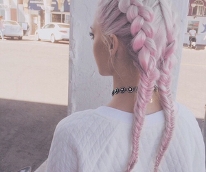 braids, carefree, and pink hair image