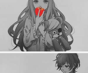 anime, monochrome, and red image