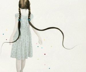 girl, hair, and illustration image