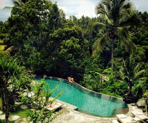 bali, turquoise water, and palms image