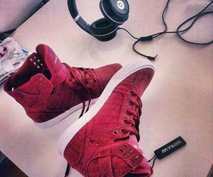 headset, shoes, and supra image