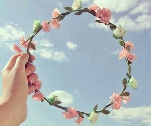 beautiful, happy, and flower crown image