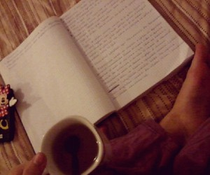 book, caffee, and night image