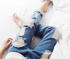 boyfriend jeans, ripped jeans, and destroyed denim image