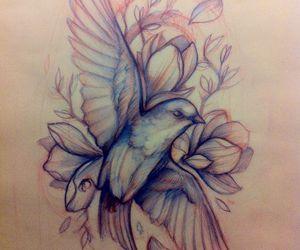 art, bird, and tattoo image