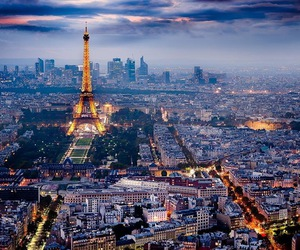city, eiffel tower, and sky image