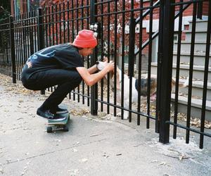 boy, dog, and skate image