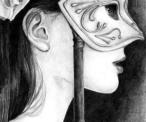 drawing, girl, and mask image