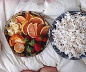 food, fruit, and popcorn image