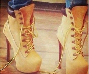 highheels, timberland, and tacones image