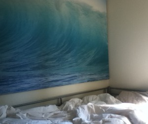 room, bedroom, and waves image