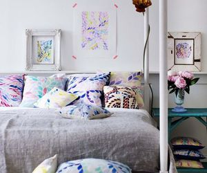 bedroom, grey, and colourful image