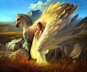 fantasy, art, and pegasus image