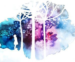 art, tree, and watercolor image