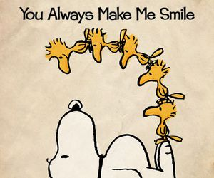 smile, snoopy, and woodstock image