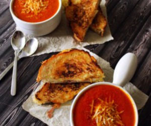 food, grilled cheese, and soup image