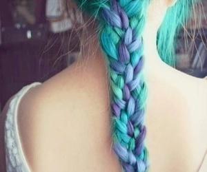 purple, braid, and girl image