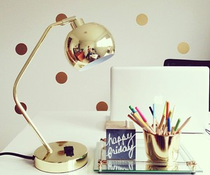 gold, desk, and decor image