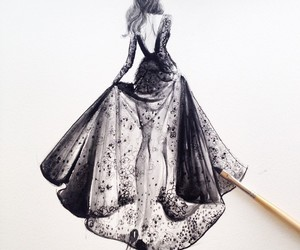 art, croquis, and dress image