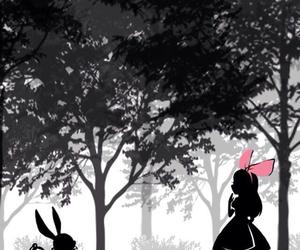 alice, wonderland, and rabbit image