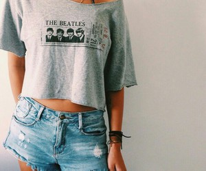girl, fashion, and the beatles image