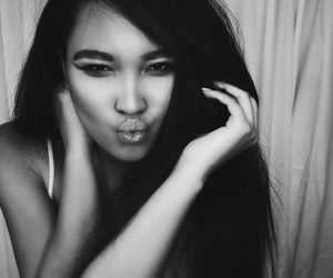 black and white, girl, and photo image