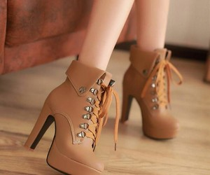 boots, high heel, and brown image