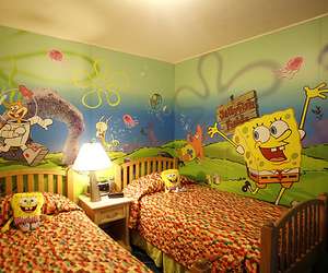 spongebob, room, and bed image
