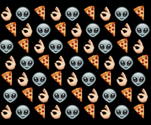 pizza, wallpaper, and alien image