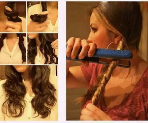curly hair, hair, and trick image