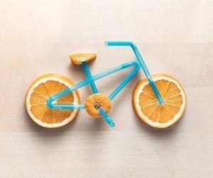 orange, bicycle, and art image