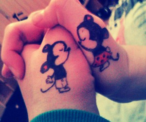 love and mickey and minnie mouse image