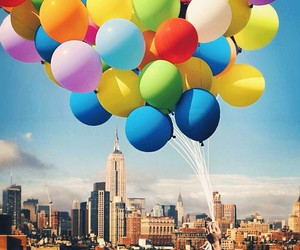 balloons, city, and colors image